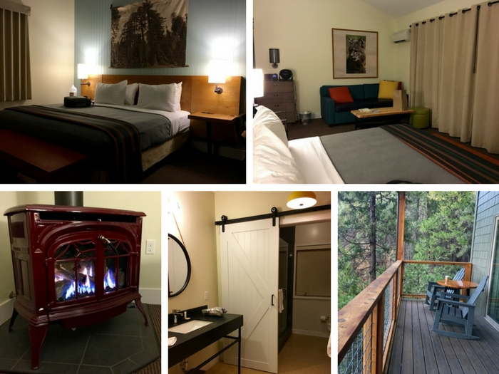 Rush Creek Lodge Villa bed, fireplace, bathroom, and deck