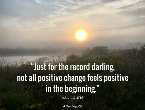 """Just for the record darling, not all positive change feels positive in the beginning."" S.C. Lourie"