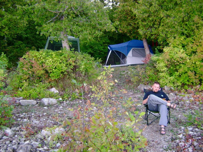 Jason hanging out at camp in Door County