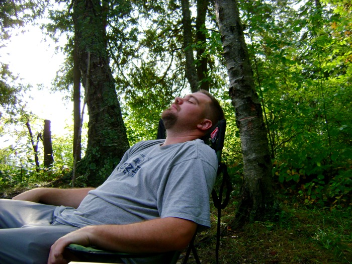 Jason relaxing while camping in Door County