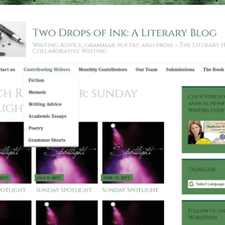 Sunday Spotlight: Contributing Writers two drops of ink
