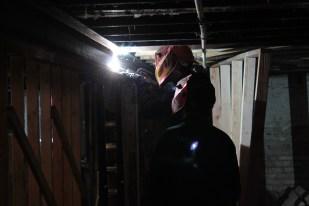 Mike welding steel beam