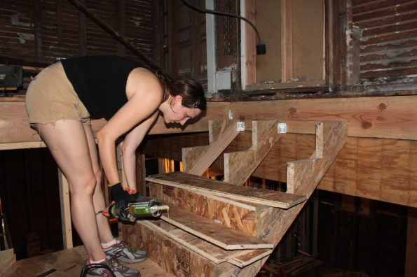 Sarah installing risers and treads