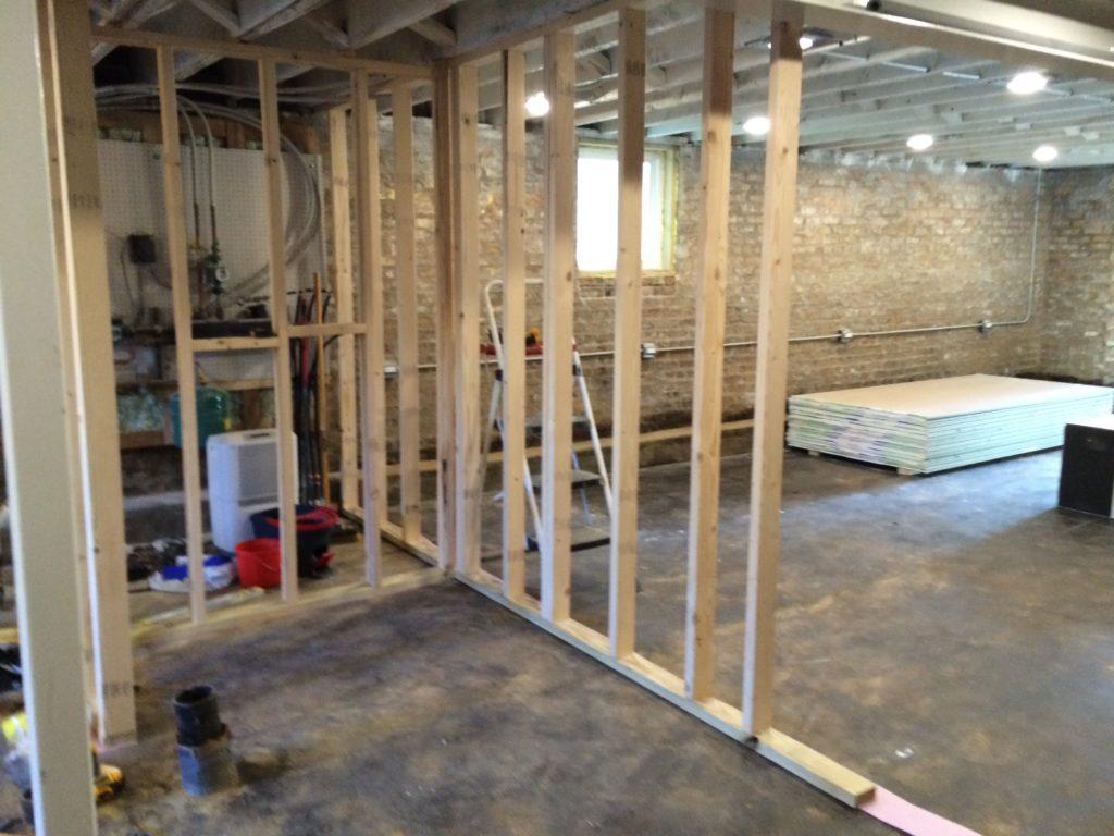 Basement Interior Wall Framing  Two Flat Remade