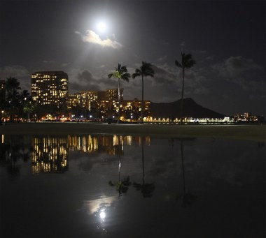 Supermoon Over Waikiki, Honolulu, HI