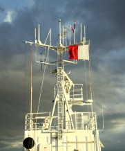 Antennas lining the mast of the Ioffe.