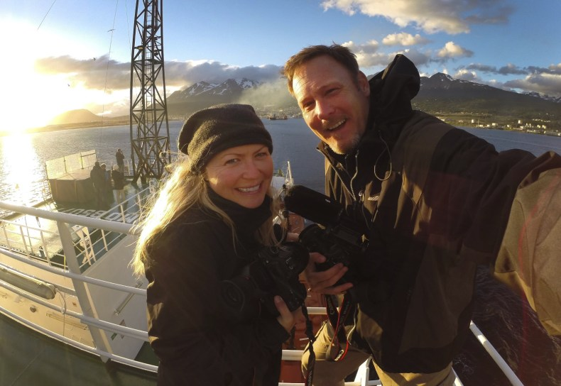 Sunset selfie from the top deck as we leave Ushuaia.