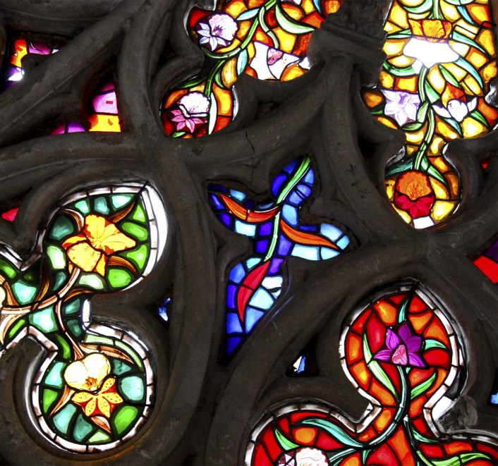 Beautiful stained glass inside the Basilica del Voto Nacional.