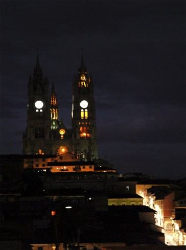 The Basilica del Voto Nacional aglow at night.