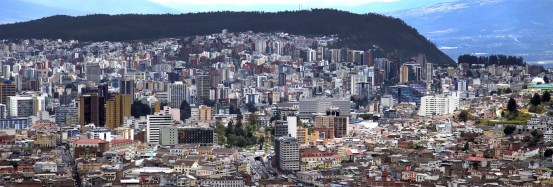 The view toward downtown Quito from the top of El Panecillo.