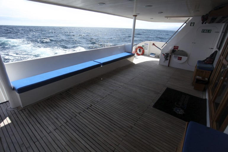 "The ""staging deck"" at the back of the boat."