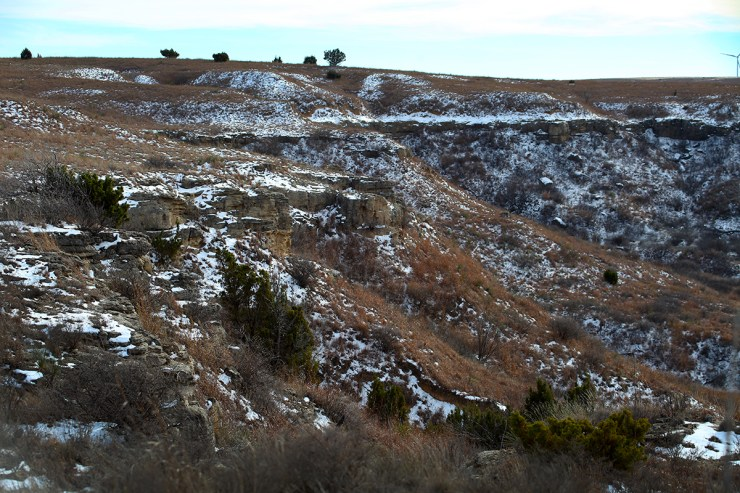 "There's still a little snow on the bluffs, which are called the ""Caprock."""