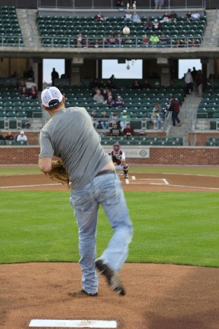 Dusty throwing out the first pitch! Made it over the plate! Thanks Tyler San Miguel for the photo!