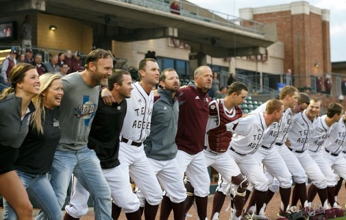 Our first time taking part in the Aggie War Hymn. How. Cool! Thanks Tyler San Miguel for the photo!
