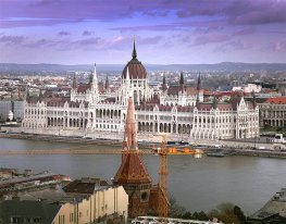 The stunning Hungarian Parliament building, as seen from Castle Hill.