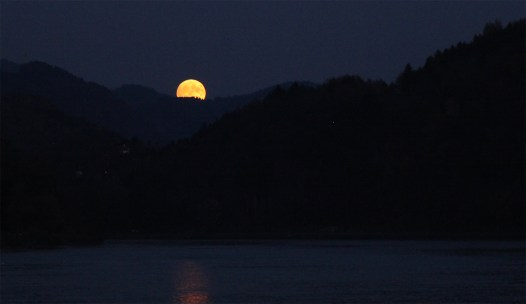 One of the prettiest moonrises we've ever seen! (And photographed, for that matter.) Framed perfectly among the hills and rising directly ober the Danube. An unforgettable sight!