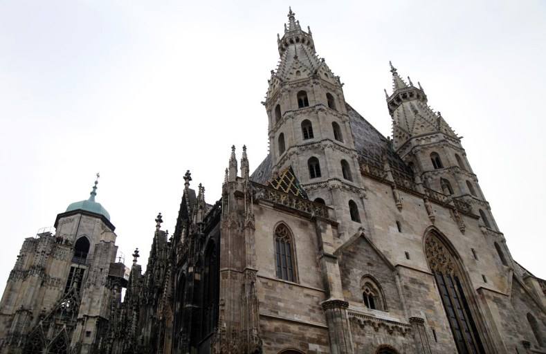 St. Stephen's Cathedral soars into an overcast sky.