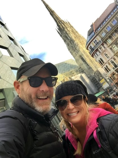 Here we are! :) In front of spectacular St. Stephen's Cathedral, in the heart of Vienna, Austria. Breathtaking!