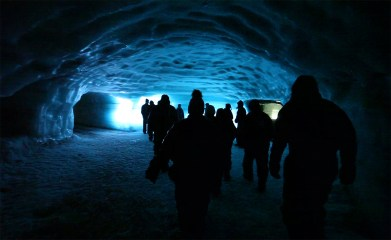 The Blue Room inside the glacier. Note that the lighting is not natural. They installed LED lights in the tunnels for visibility. But still super cool!