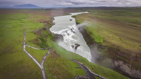 And then.... this. Flew the drone above the roaring, magnificent Gulfoss waterfall. Spectacular!