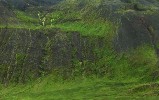The lush green walls of the fjord, just across from Siglufjordur.