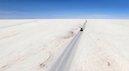 Driving across the vast, blinding blank canvas that is the salar.