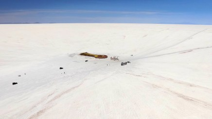 Drone shot of one of the few actual structures anywhere on the salar. It used to be a hotel but now it's just a kind of stopping place for travelers. And yes, it's made almost entirely of salt itself.