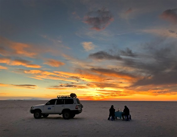 Ended the day on the salar with a bottle of Bolivian wine at sunset. What an incredible place!