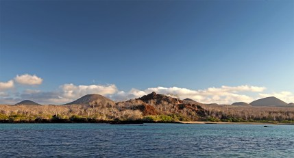The beautiful landscape of Floreana Island as sunset approaches.