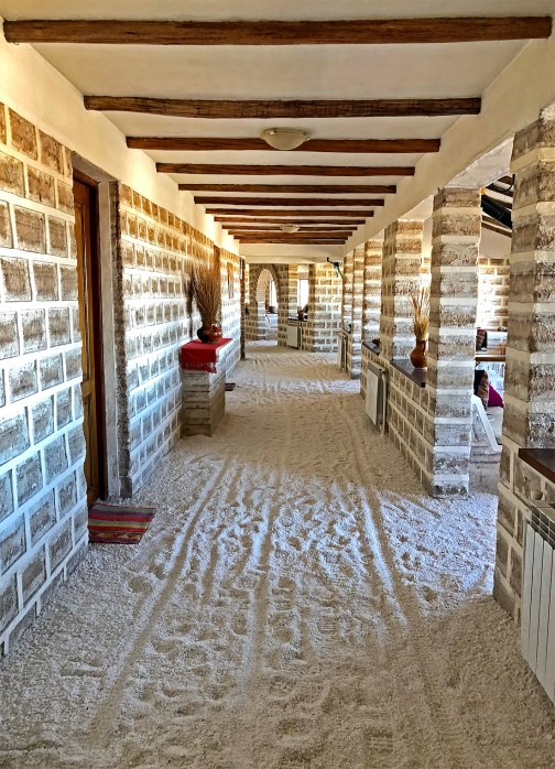 This is where we stayed! The Hotel Luna Salada. And, yes - it's make almost entirely of salt! Hold the camera while we taste the walls. LOL