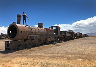 A popular spot for travelers! You can wander atop and inside all of these rusted old locomotives and train cars. At your own risk of course. Super cool!