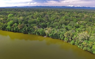 Aerial shot of the Chalalan Lodge, deep in the Bolivian jungle. See the lodge there at the very edge of Chalalan Lake?