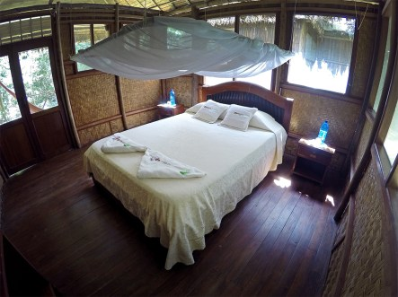 Our cabana at Chalalan. Complete with mosquito net! Good thing too. The bugs were THICK.