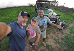 Enjoying a gorgeous day among the wildlife and beautiful landscapes of the Umfolozi Game Reserve with our guide Vuyani.