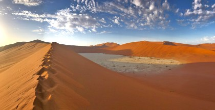 Atop a dune in Sossusvlei, looking down at Deadvlei.