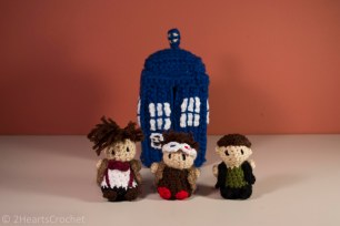 From left to right: Eleven, Ten and Nine, with the TARDIS!