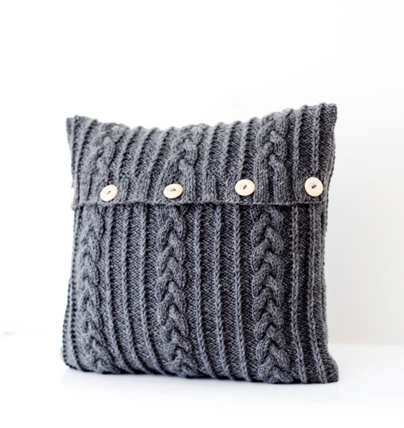 Etsy Finds  Grey Knitted Pillow  Two Hearts One Roof