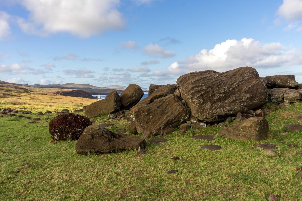 væltet moai påskeøen