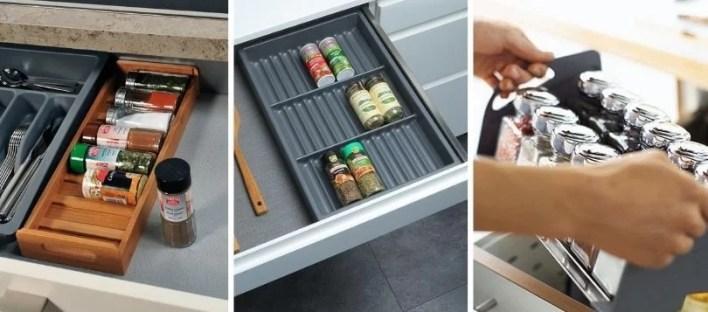 Wkłady na przyprawy do szuflad przykłady