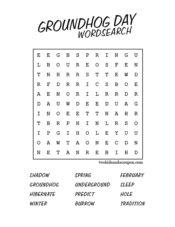 Free Printable Groundhog Day Word Search Two Kids and a Coupon – Groundhog Day Worksheets Free