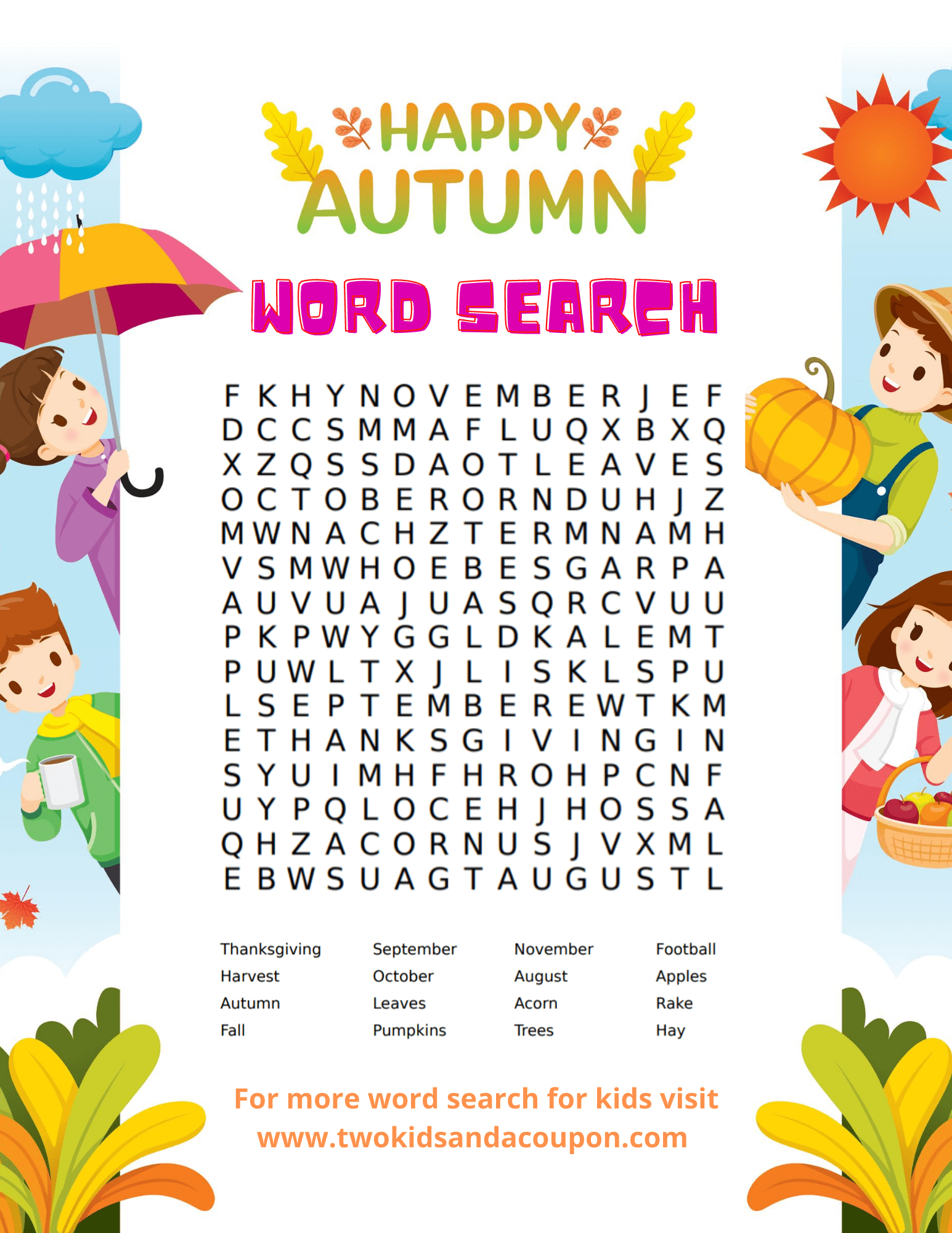 Free Kids Word Search Puzzles Printable For Fall For Your