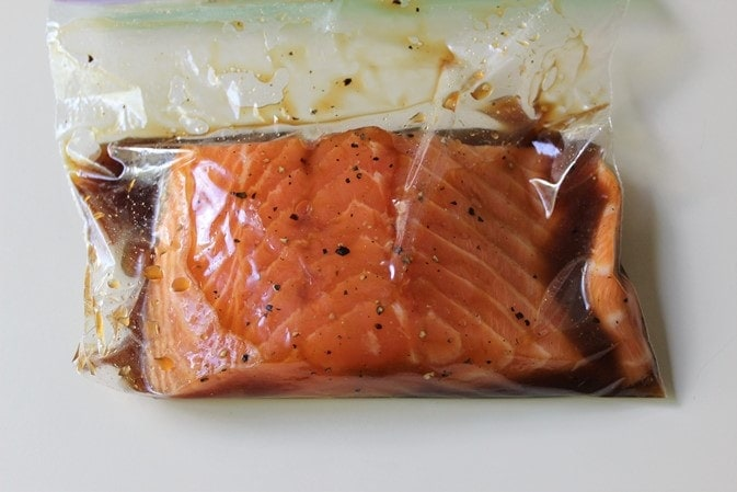 salmon marinating for 30 minutes
