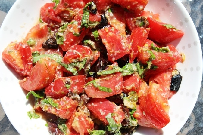 fresh tomato olive lemon marinade