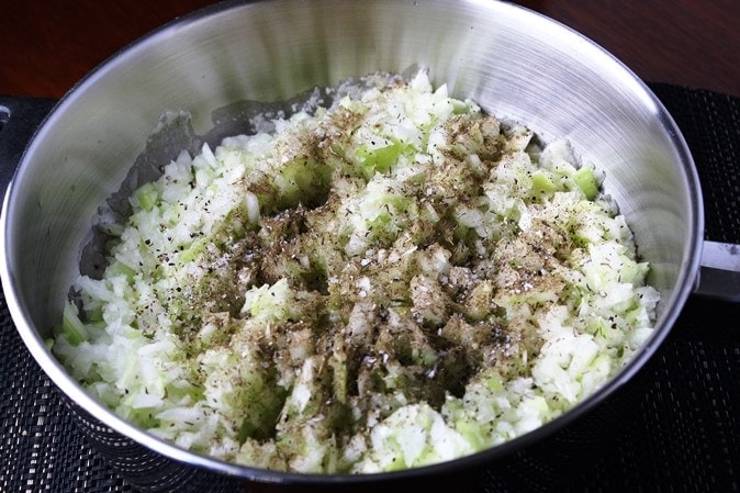 saute vegetables for stuffing