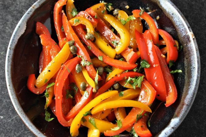 sauteed peppers with caper vinaigrette
