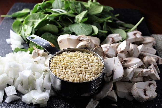 Spinach Mushroom Orzo onion