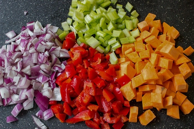 chopped onions, sweet potatoes, peppers, celery