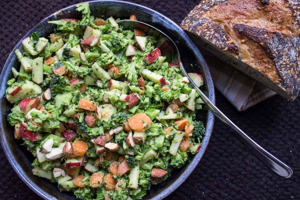 Broccoli apple slaw with avocado dressing. Crunchy textures, creamy dressing, fresh flavours