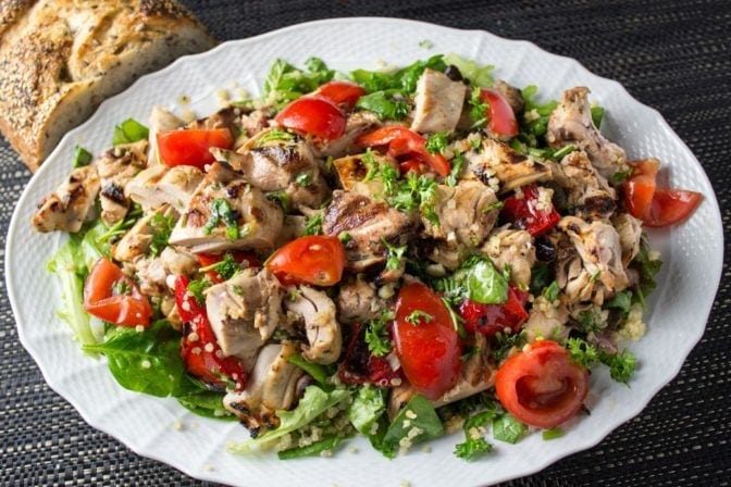 Grilled sesame-lime chicken and quinoa salad