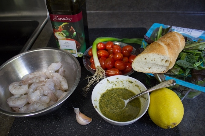 Grilled Pesto Shrimp Panzanella ingredients